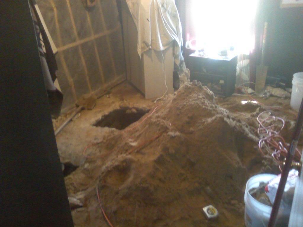 slab leak in progress by ANS Plumbing